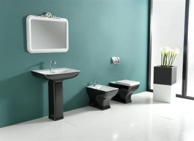 Set baie vas wc stativ +bidet stativ+capac negru+lavoar+piedestal Dorian Vitruvit Italia