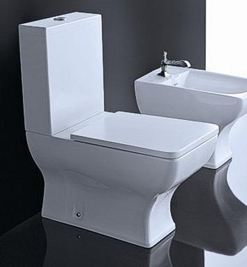 Set baie vas wc monobloc+bidet stativ+capac alb Dorian Vitruvit Italia