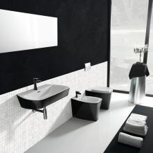 Set baie vas wc stativ +bidet stativ+capac negru+lavoar Ice Vitruvit Italia