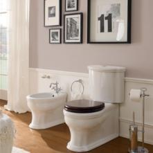 Vas wc monobloc cu rezervor ceramic si capac legno Castellana Scarabeo Italia